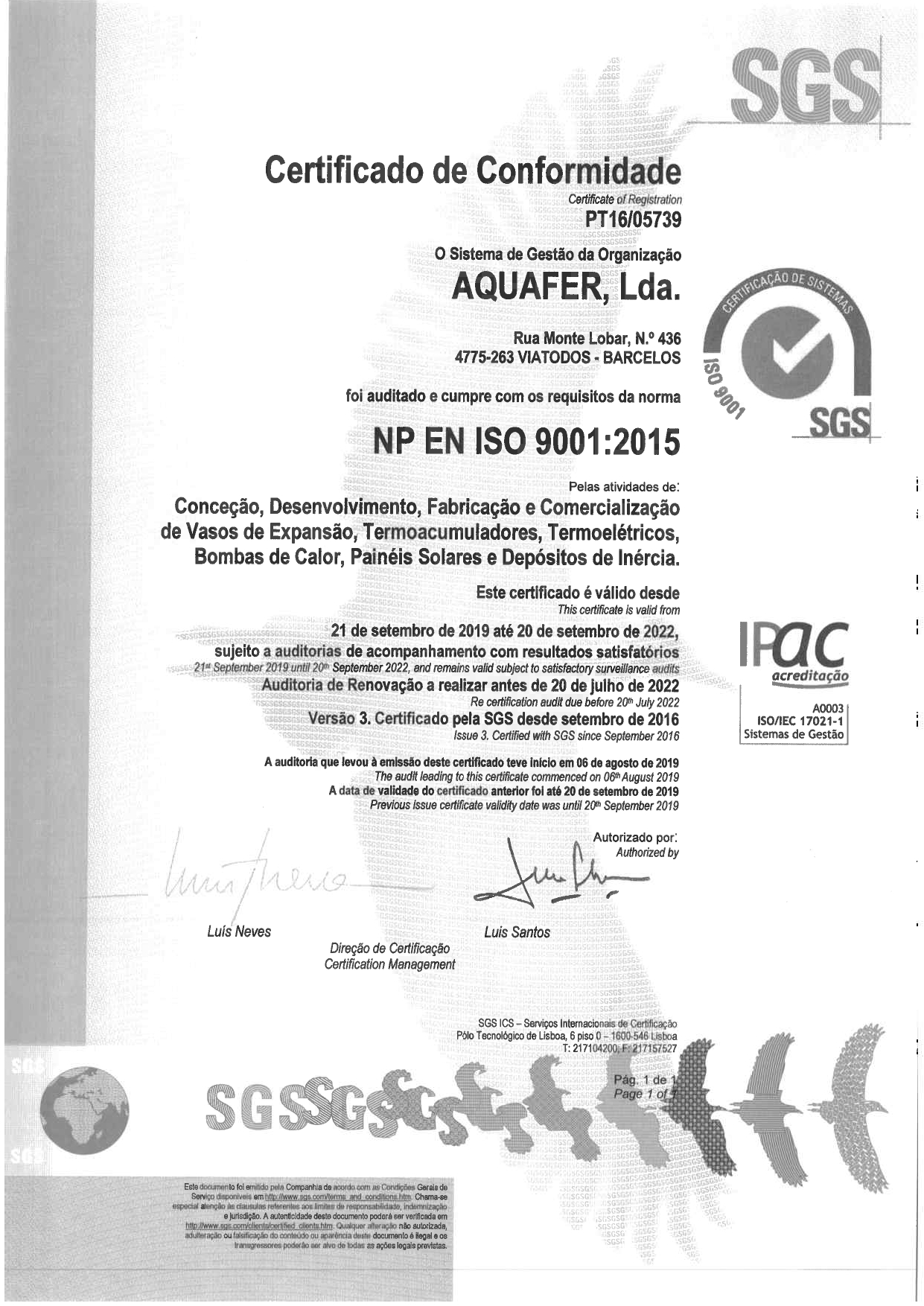 Aquafer implements Quality certification