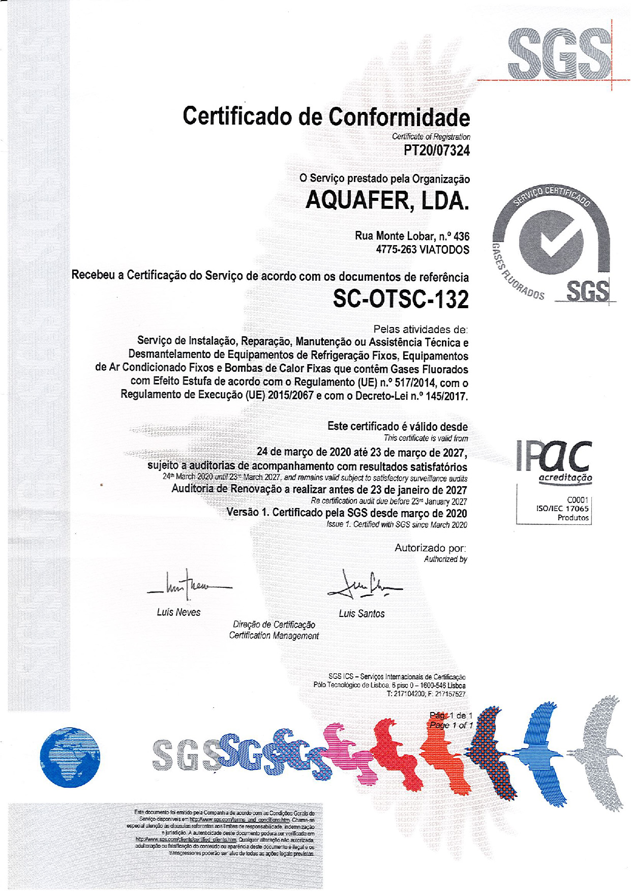 Aquafer obtains Certificate in the field fluorinated gases